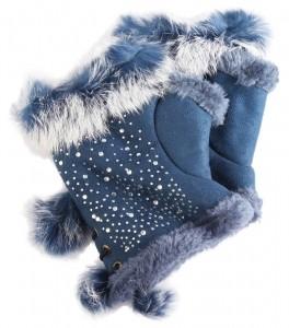 Cham Cham Handschuhe blau mit Straßsteine, 100% Polyester