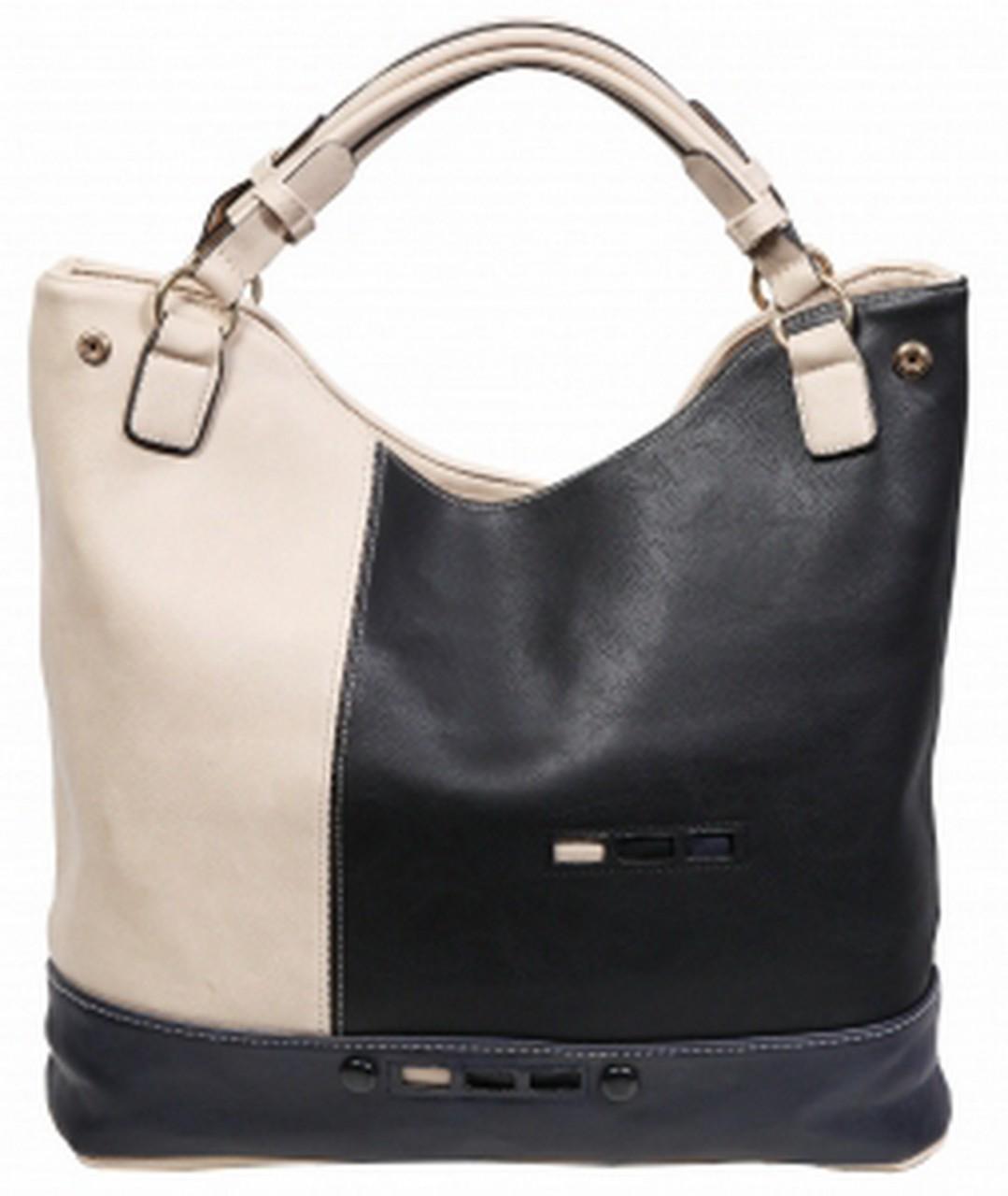 Damenhandtasche schwarz/beige