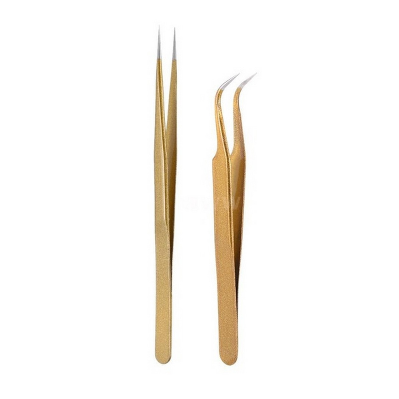 Wimpern-Pinzetten-Set – 2 Stk. Vetus HRC 40 Tweezers goldfarben