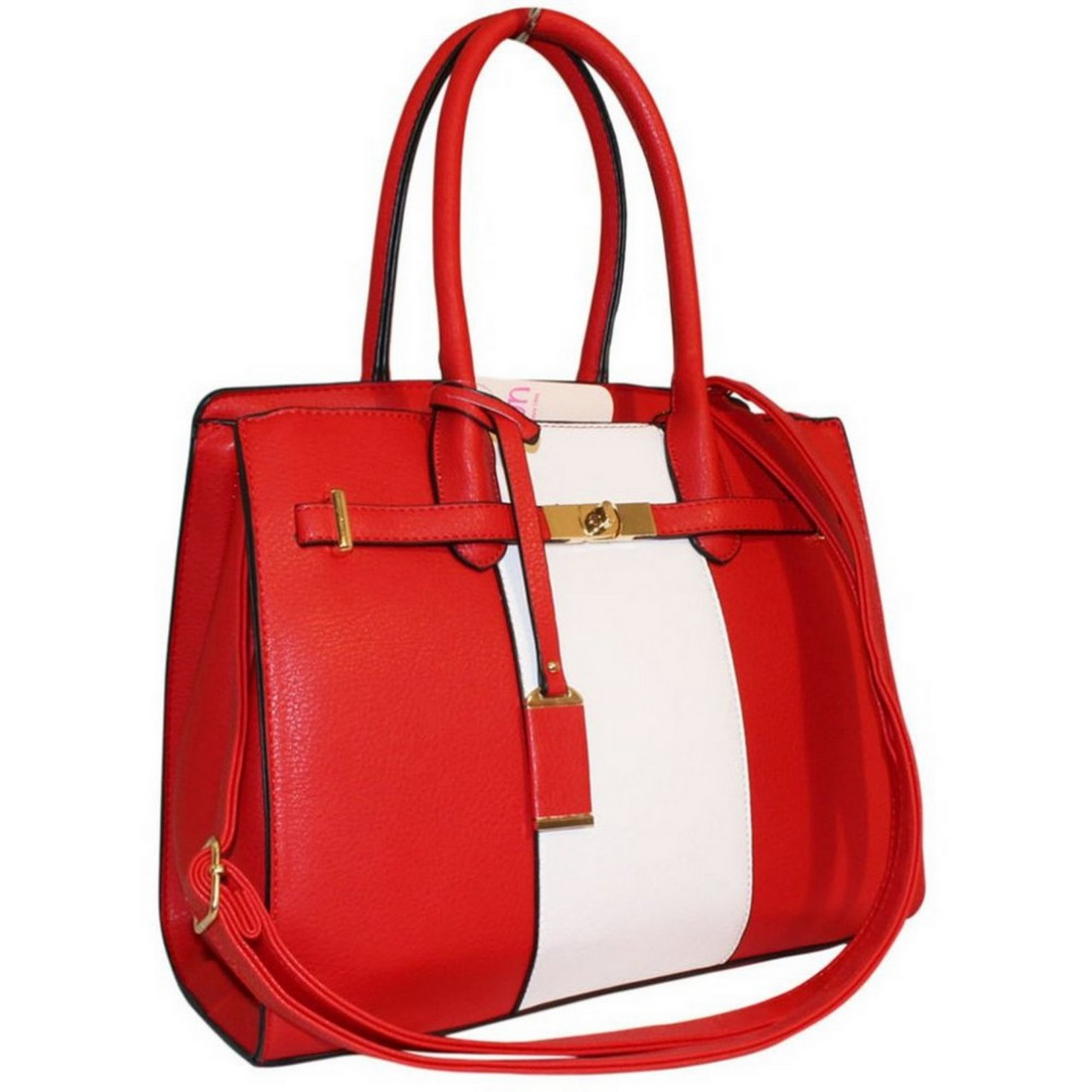 Damenhandtasche rot / weiß Schultertasche / Shopper