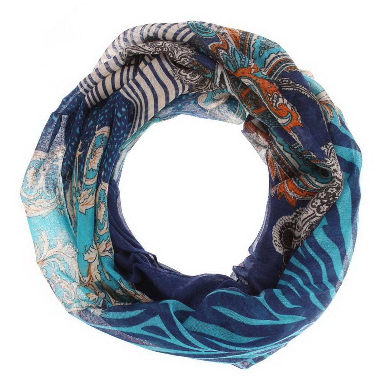 Damen Schal - blau , blue Loop