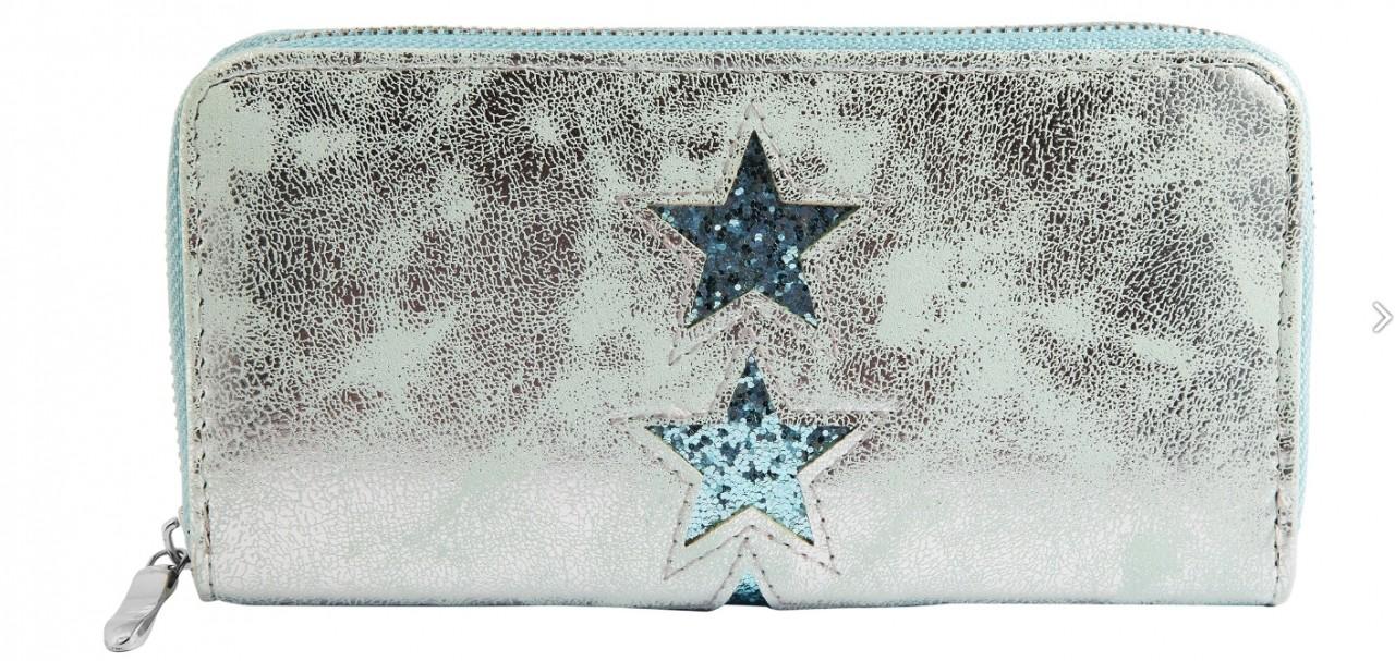 Damengeldbörse türkis mit Sterne