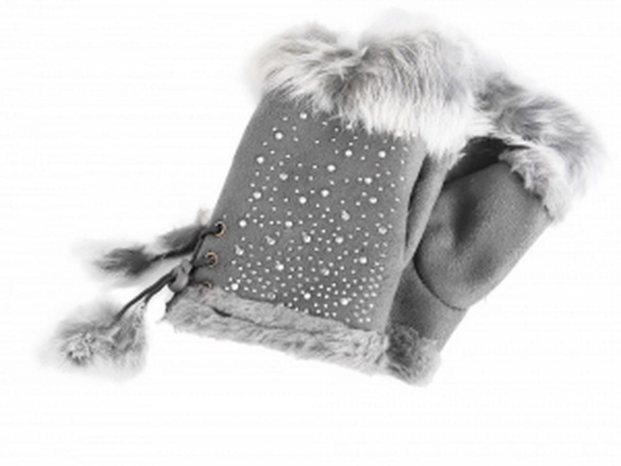 Cham Cham Handschuhe grau mit Straßsteine, 100% Polyester