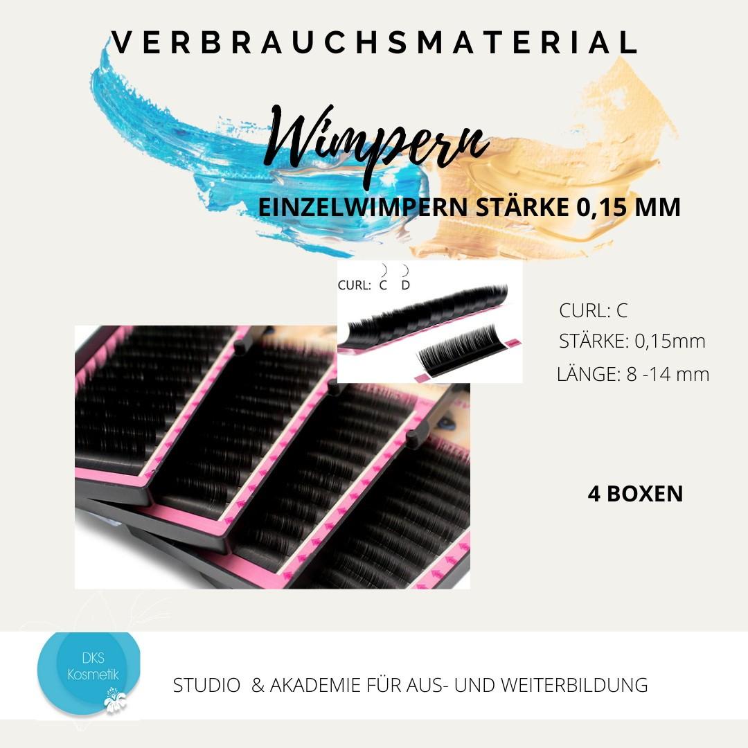 Silk Lashes - Stärke 0,15 C schwarz 4 Boxen 8,10,12,14 mm Seidenwimpern / Wimpernverlängerung