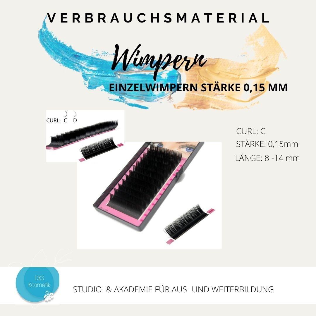 Silk Lashes - Stärke 0,15 C schwarz 14 mm - Seidenwimpern für die Wimpernverlängerung